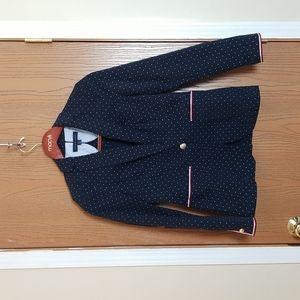 NWOT Tommy Hilfiger Navy Blue White Polka Dot Single Button Blazer Jacket Size 4